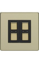 LightwaveRF 2 gang Light Dimmer Switch Brass