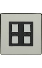 LightwaveRF 2 gang Light Dimmer Switch Chrome